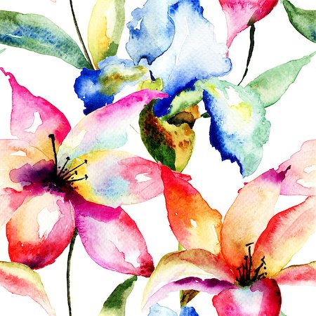 seamless floral - Seamless wallpaper with Lily and Iris flowers, watercolor illustration Stock Photo - Budget Royalty-Free & Subscription, Code: 400-07308502