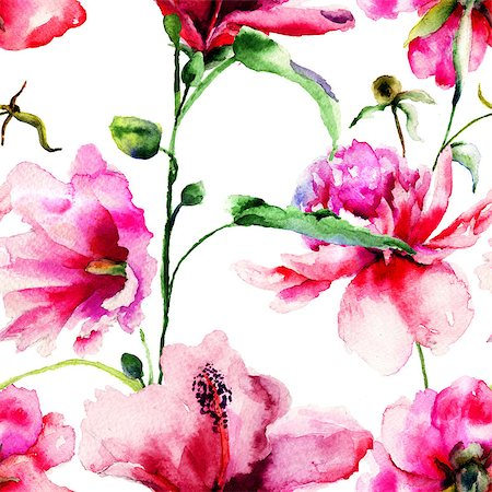 peony art - Seamless pattern with Ipomea and Peony flowers illustration, watercolor painting Stock Photo - Budget Royalty-Free & Subscription, Code: 400-07308512