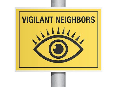 "Vector illustration of ""vigilant neighbors"" yellow road sign Stock Photo - Budget Royalty-Free & Subscription, Code: 400-07308607"