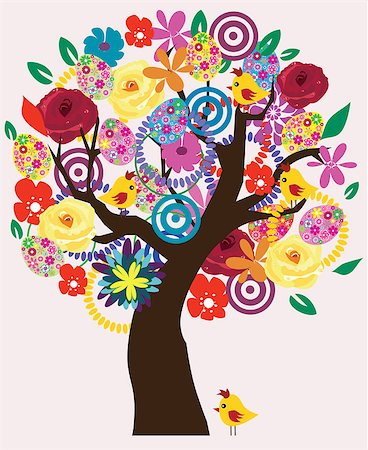 vector Easter tree with birds, eggs, flowers Stock Photo - Budget Royalty-Free & Subscription, Code: 400-07309268