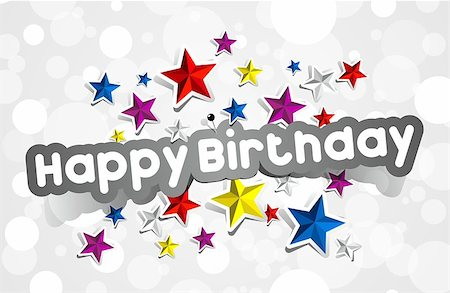 Happy Birthday Greeting Card With Stars vector illustration Stock Photo - Budget Royalty-Free & Subscription, Code: 400-07309825