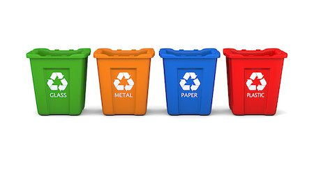 Set of four colored recycle bins isolated on white background Stock Photo - Budget Royalty-Free & Subscription, Code: 400-07301131