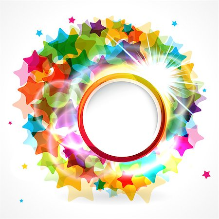 fun happy colorful background images - Colorful star background with rounded frame. Stock Photo - Budget Royalty-Free & Subscription, Code: 400-07301936