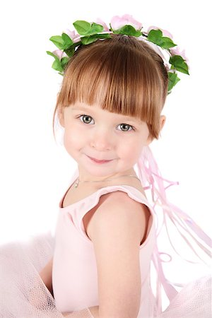 Toddler ballet girl in pink against white background Stock Photo - Budget Royalty-Free & Subscription, Code: 400-07302639