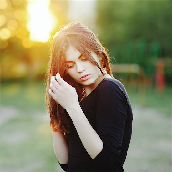 Beautiful woman outside. Caucasian woman with long hair  on sunny summer day. Stock Photo - Royalty-Free, Artist: manifeesto, Image code: 400-07314962