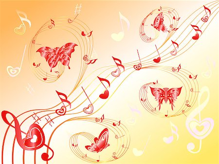 Various musical notes with hearts on stave and butterflies flying along, hand drawing Valentine vector illustration Stock Photo - Budget Royalty-Free & Subscription, Code: 400-07316881