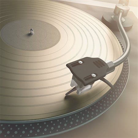 Scratching the gold record with strong backlight. Stock Photo - Budget Royalty-Free & Subscription, Code: 400-07316903