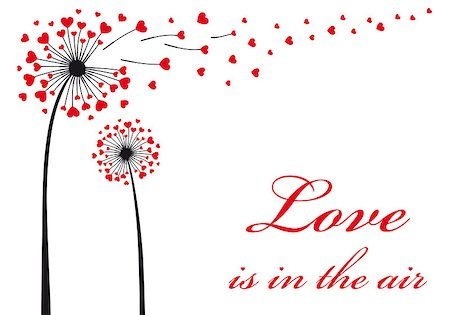 stencils - Love is in the air, dandelion with flying red hearts, vector illustration Stock Photo - Budget Royalty-Free & Subscription, Code: 400-07317234