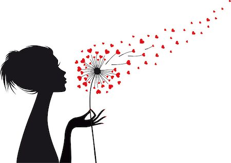 woman holding dandelion with flying red hearts, vector illustration Stock Photo - Budget Royalty-Free & Subscription, Code: 400-07319244