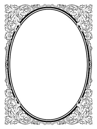 calligraphy penmanship oval baroque frame black isolated Stock Photo - Budget Royalty-Free & Subscription, Code: 400-07311939