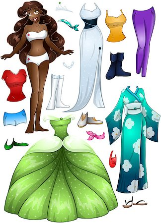 A vector illustration of an african girl template outfit and accessories dress up pack. Stock Photo - Budget Royalty-Free & Subscription, Code: 400-07324788