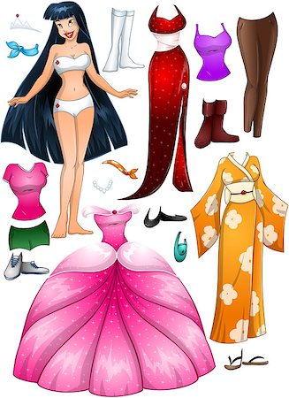 A vector illustration of an asian girl template outfit and accessories dress up pack. Stock Photo - Budget Royalty-Free & Subscription, Code: 400-07324789