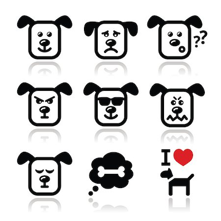 Vector icons set of cute dog charater expressing anger, happiness Stock Photo - Budget Royalty-Free & Subscription, Code: 400-07324827
