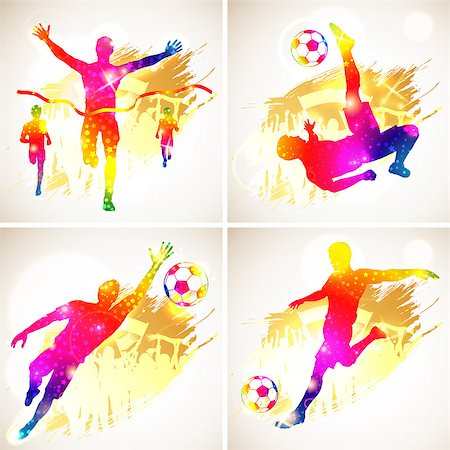 Bright Rainbow Silhouette Soccer Player and Winner Man with Fans on grunge background, vector illustration Stock Photo - Budget Royalty-Free & Subscription, Code: 400-07326448