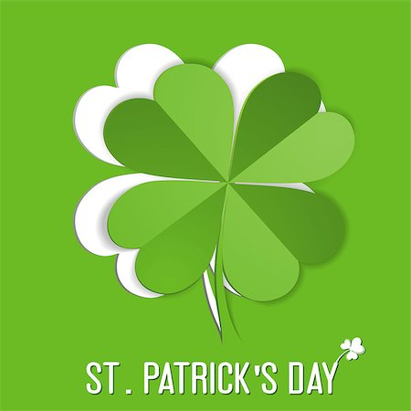St. Patrick Day sticker with leaf Shamrock (Clover), vector illustration Stock Photo - Budget Royalty-Free & Subscription, Code: 400-07326452