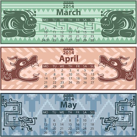 Vector of spring calendar 2014 with mayan ornaments Stock Photo - Budget Royalty-Free & Subscription, Code: 400-07326848