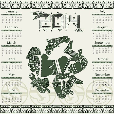 Vector calendar 2014 in mayan style Stock Photo - Budget Royalty-Free & Subscription, Code: 400-07326851