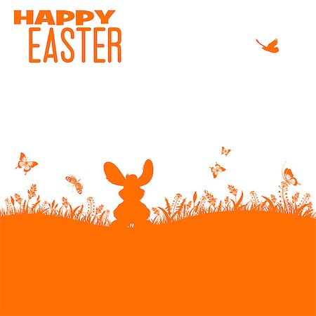 Easter Silhouette with bunny, grass, flower and butterfly, vector isolated on white background Stock Photo - Budget Royalty-Free & Subscription, Code: 400-07329589