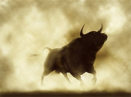 Illustration of an angry bull silhouette in a smoky or dusty atmosphere Stock Photo - Budget Royalty-Free & Subscription, Code: 400-07329821