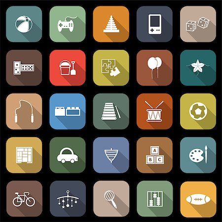 Toy flat icons with long shadow, stock vector Stock Photo - Budget Royalty-Free & Subscription, Code: 400-07329968