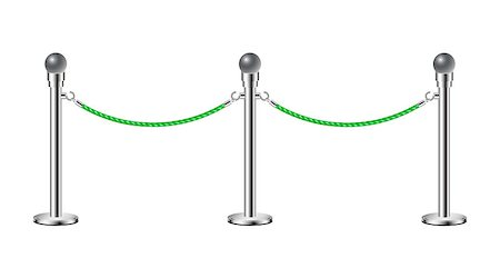 queue club - Stand rope barriers in silver design with green rope on white background Stock Photo - Budget Royalty-Free & Subscription, Code: 400-07323408