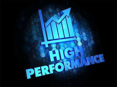 High Performance Concept - Blue Color Text with Growth Chart Icon on Dark Digital Background. Stock Photo - Budget Royalty-Free & Subscription, Code: 400-07338798