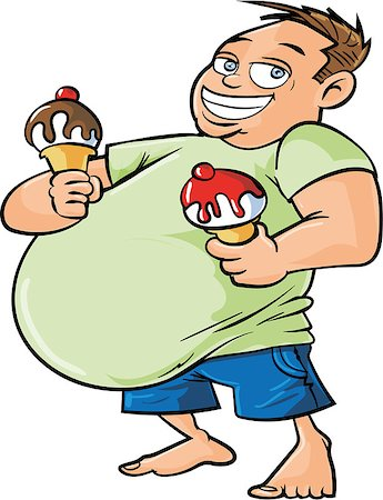 fat man exercising - Cartoon overweight man holding two ice creams. Isolated Stock Photo - Budget Royalty-Free & Subscription, Code: 400-07330235
