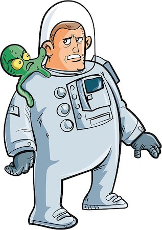 Cartoon astronaut with alien on his shoulder. Isolated on white Stock Photo - Budget Royalty-Free & Subscription, Code: 400-07330245
