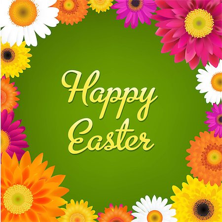 florist vector - Happy Easter Card With Gerbers, With Gradient Mesh, Vector Illustration Stock Photo - Budget Royalty-Free & Subscription, Code: 400-07330485