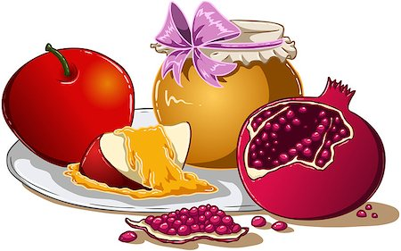 Vector illustration of honey apple and pomegranate on a plate for Rosh Hashanah the Jewish new year. Stock Photo - Budget Royalty-Free & Subscription, Code: 400-07330810