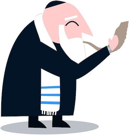 Vector illustration of a Rabbi with Talit blows the shofar the Jewish holiday Yom Kippur. Stock Photo - Budget Royalty-Free & Subscription, Code: 400-07330813