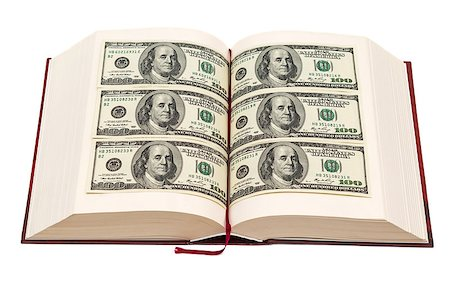education loan - Book with dollar pages isolated on white background Stock Photo - Budget Royalty-Free & Subscription, Code: 400-07330901