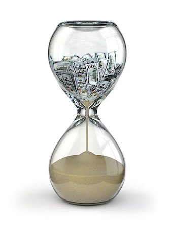 Time is money. Inflation. Hourglass and dollar. 3d Stock Photo - Budget Royalty-Free & Subscription, Code: 400-07331140
