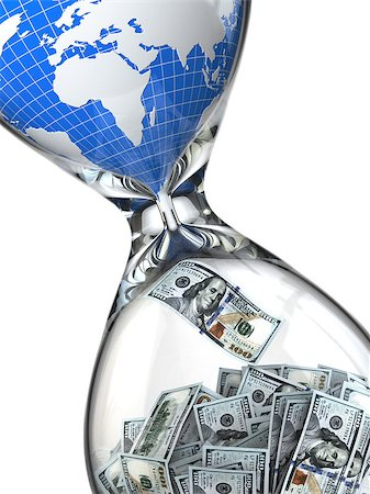 Hourglass, money and earth. Consumption of natural resources. 3d Stock Photo - Budget Royalty-Free & Subscription, Code: 400-07331225