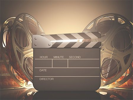 Clapboard with back light. Your name, time and date on clapboard. Stock Photo - Budget Royalty-Free & Subscription, Code: 400-07331251