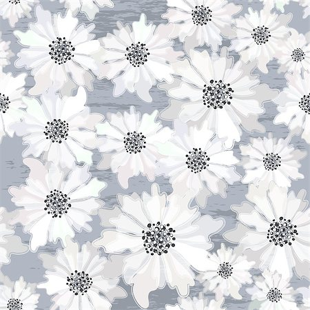 Seamless floral spring pattern with translucent white flowers on grunge background (vector EPS 10) Stock Photo - Budget Royalty-Free & Subscription, Code: 400-07331844
