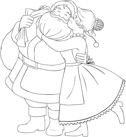 Vector illustration coloring page of Mrs Claus kisses Santa on cheek and hugs him for christmas. Stock Photo - Budget Royalty-Free & Subscription, Code: 400-07332397