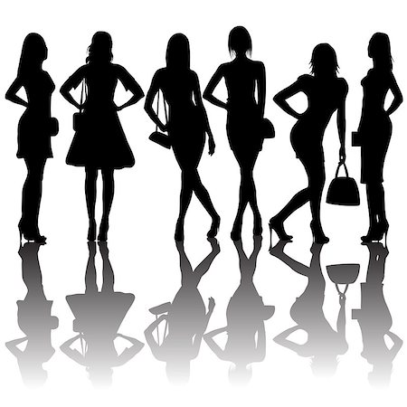 simsearch:400-04096935,k - Fashion silhouettes of women Stock Photo - Budget Royalty-Free & Subscription, Code: 400-07405130