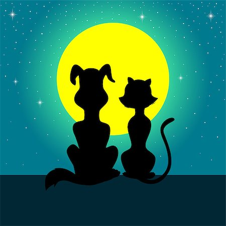 enemy - Silhouette illustration of a dog and cat sitting together while watching the full moon Stock Photo - Budget Royalty-Free & Subscription, Code: 400-07405345