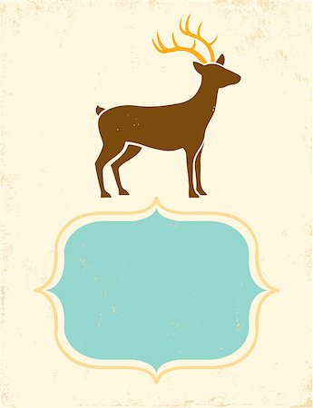 deer hunt - Retro poster with silhouette deer Stock Photo - Budget Royalty-Free & Subscription, Code: 400-07405585