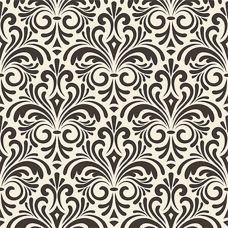 vector seamless floral vintage pattern on beige background, seamless pattern in swatch menu Stock Photo - Budget Royalty-Free & Subscription, Code: 400-07405661