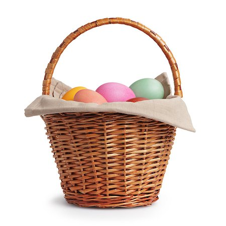 wicker basket full of pastel colors easter eggs, white background Stock Photo - Budget Royalty-Free & Subscription, Code: 400-07406705