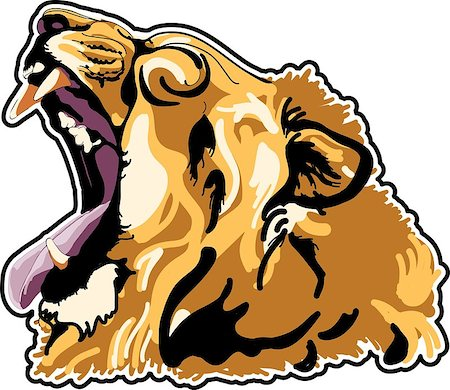roar lion head picture - lion head in color interpretation Stock Photo - Budget Royalty-Free & Subscription, Code: 400-07409973