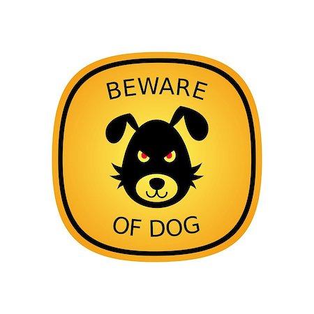Beware of the bad dog orange sign vector illustration Stock Photo - Budget Royalty-Free & Subscription, Code: 400-07414254