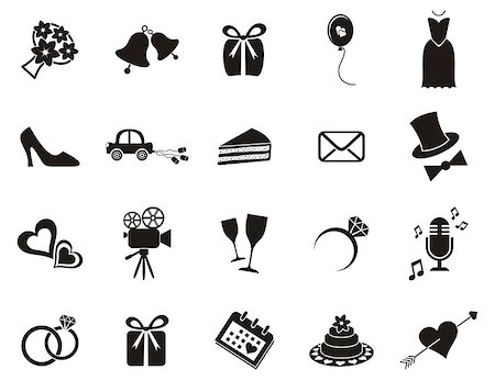 Set of black silhouette icons for wedding invitations Stock Photo - Budget Royalty-Free & Subscription, Code: 400-07414271