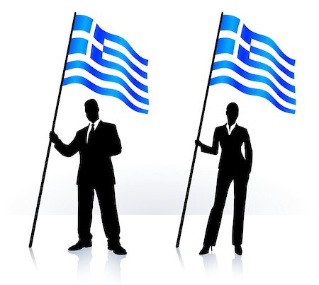 Business silhouettes with waving flag of  Greece Original Vector Illustration AI8 compatible Stock Photo - Budget Royalty-Free & Subscription, Code: 400-07415886