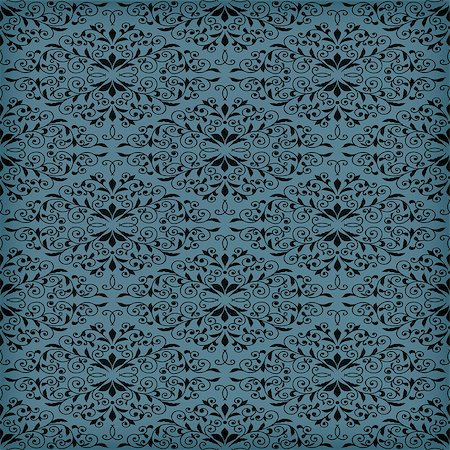 seamless floral - Vector seamless blue  floral pattern, transparency effects and gradient mesh applied, seamless pattern in swatch menu Stock Photo - Budget Royalty-Free & Subscription, Code: 400-07416537