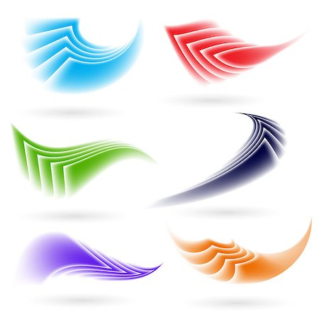 Set of abstract colorful forms on white background Stock Photo - Budget Royalty-Free & Subscription, Code: 400-07417066