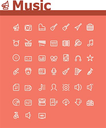 Set of the simple music related icons Stock Photo - Budget Royalty-Free & Subscription, Code: 400-07418824