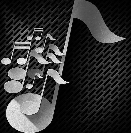 pic music note symbol - Metal musical notes on dark metal grid with shadows Stock Photo - Budget Royalty-Free & Subscription, Code: 400-07410241